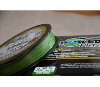 Шнур PowerPro Super 8 Slick 135m 0.36mm 30kg зеленый, фото 10